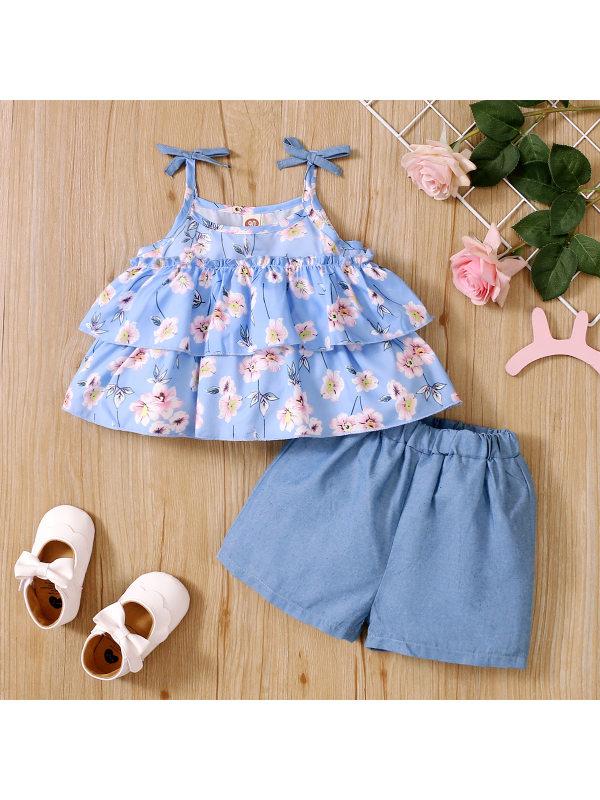 【18M-7Y】Sweet Floral Print Top And Blue Denim Shorts Set