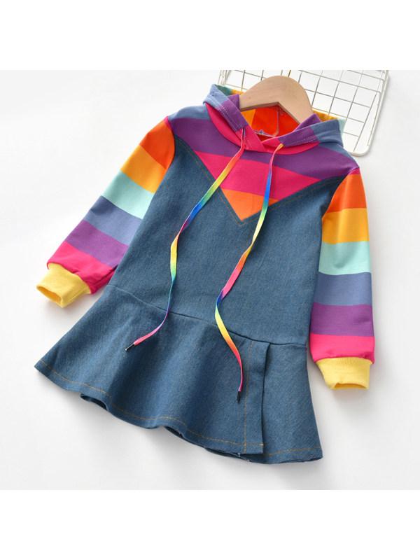 【18M-7Y】Girls Cute Rainbow Striped Denim Dress