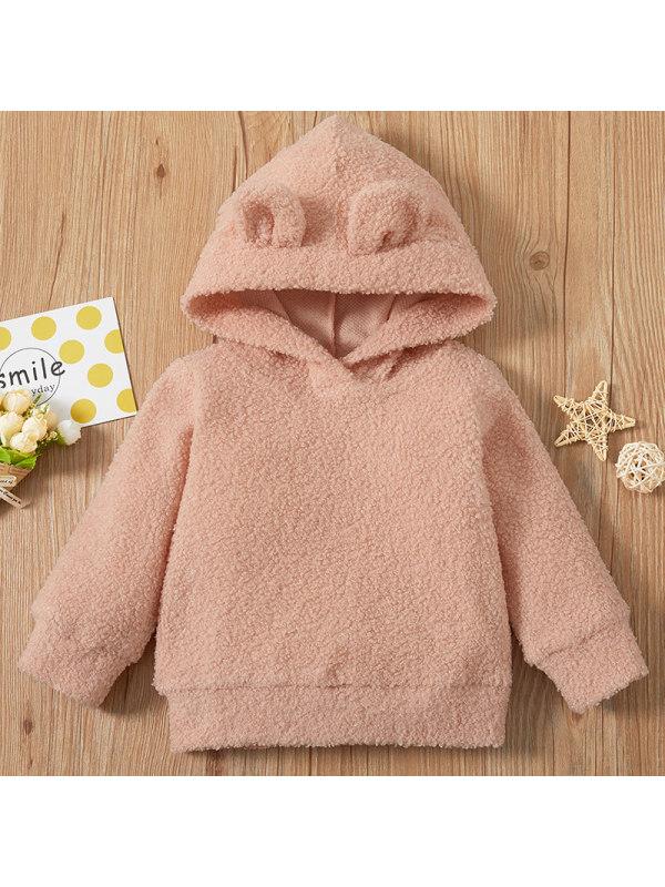 【6M-2.5Y】Baby Girl Sweet Pink Long Sleeve Hooded Sweatshirt