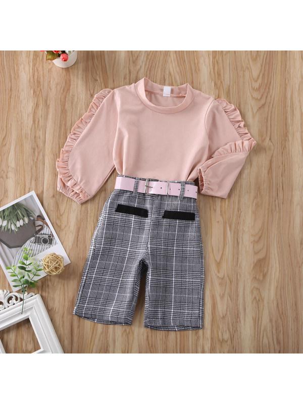 【18M-7Y】Girls Long-Sleeved Top Plaid Pants Suit