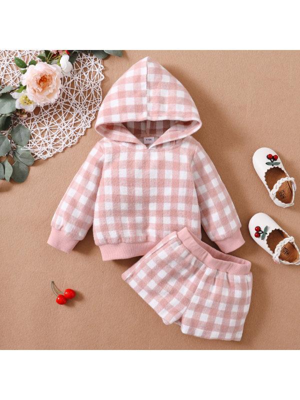 【3M-24M】Cute Plaid Long Sleeve Hoodie And Shorts Set