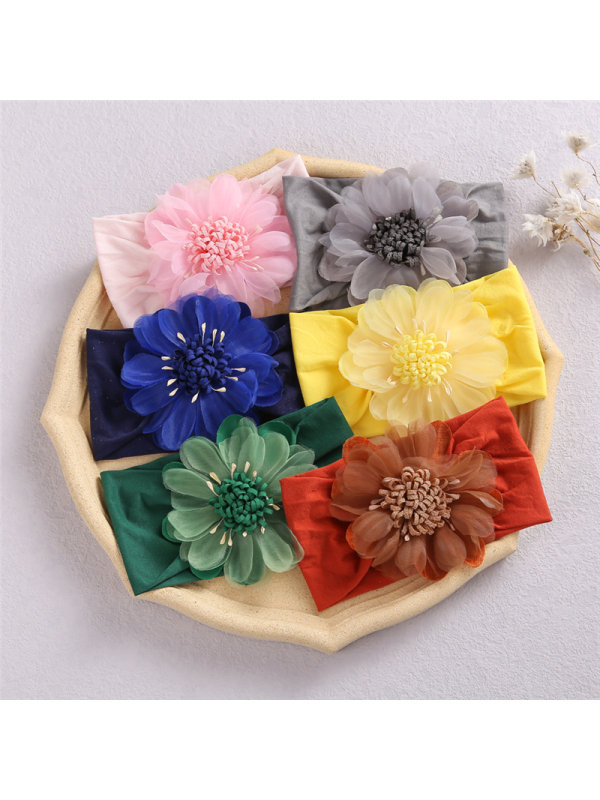 Net Yarn Sun Flower Bud Baby Headband