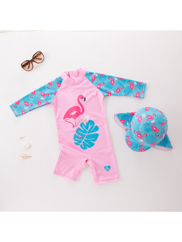 【18M-7Y】Girls Long Sleeve Pink Swan One-piece Swimsuit With Hat