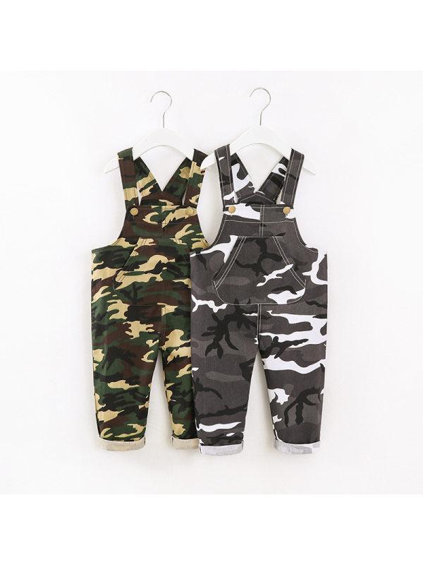 【12M-5Y】Boys Camouflage Big Pocket Suspenders Trousers