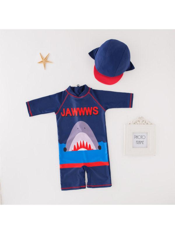 【2Y-9Y】Boys Blue Shark Style One-piece Swimsuit