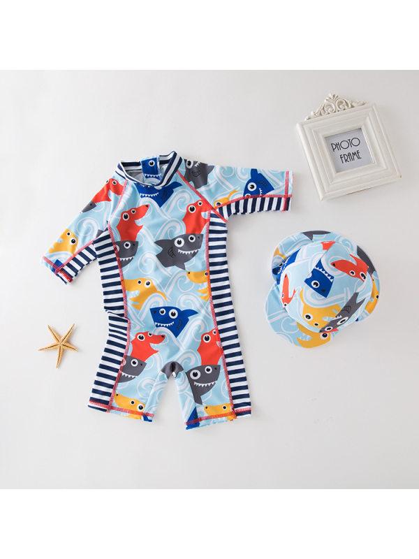 【2Y-9Y】Boys Shark Head Printed One-piece Swimsuit