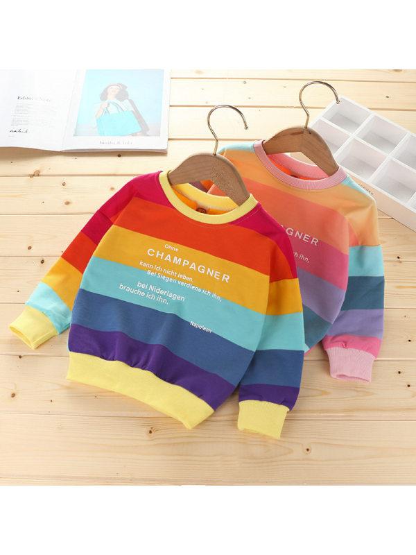 【18M-7Y】Girls Round-Neck Rainbow Print Long-Sleeved Sweatshirt