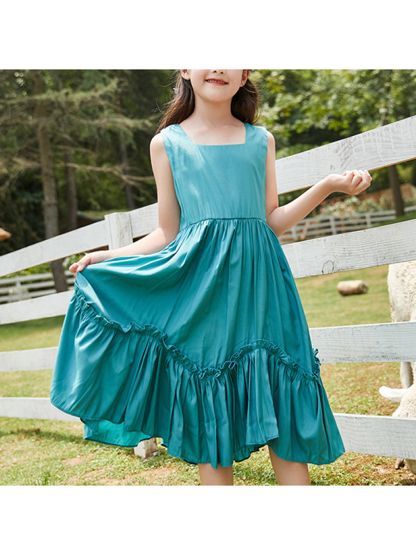 【4Y-13Y】Girls Round Neck Sleeveless Fashion Halter Dress