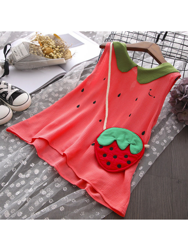 【18M-7Y】Sweet Strawberry Red Dress With Bag