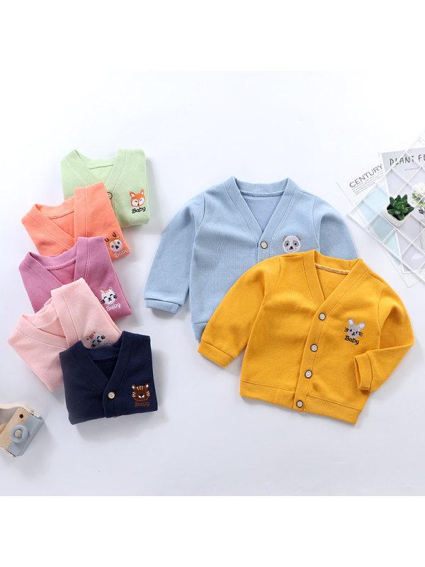 【12M-7Y】Kid Sweater V-neck Cardigan Jacket