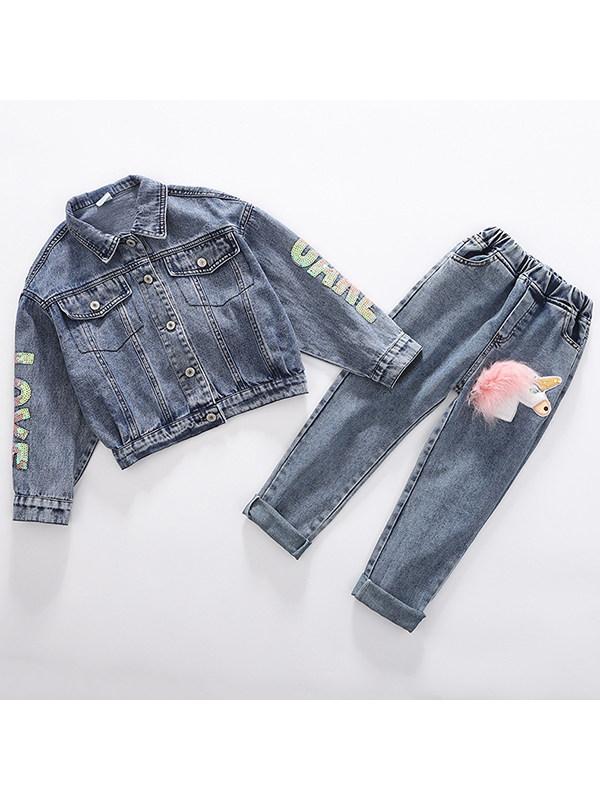 【3Y-13Y】Big Girl Unicorn Denim Jacket