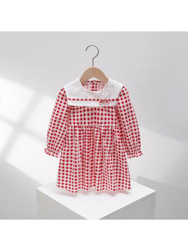 【2Y-7Y】Girl's Long Sleeve Red Plaid Dress