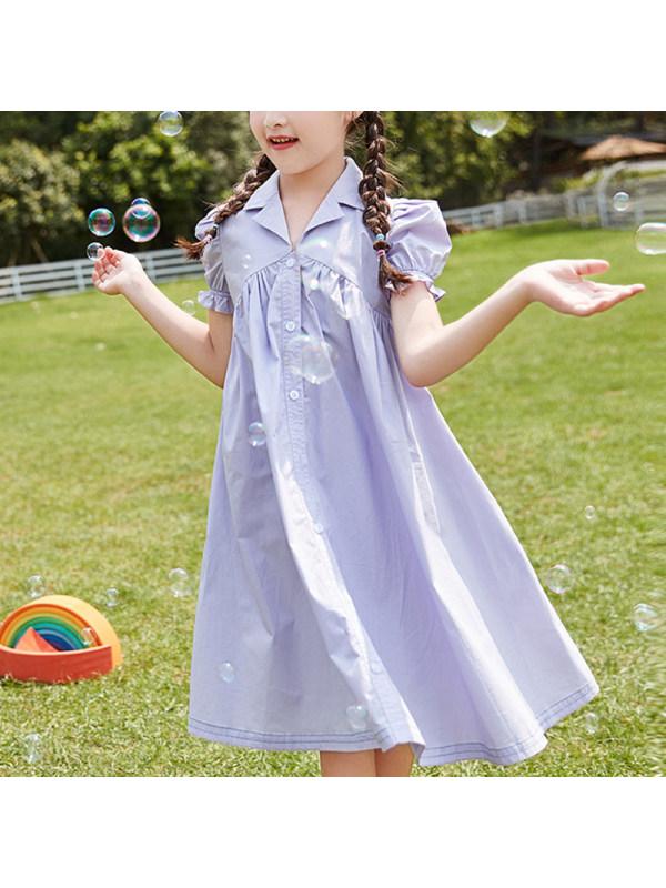 【4Y-13Y】Girls Cardigan Shirt Puff Sleeve Dress