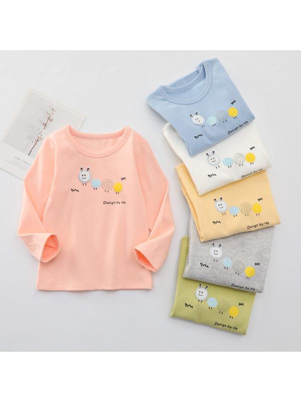 【18M-7Y】Girls Cartoon Print Long-sleeved Stretch T-shirt
