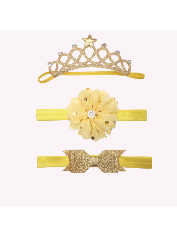 Yellow Crown Headband 3 Piece Set