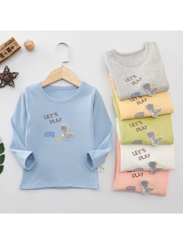 【18M-7Y】Girls' Round Neck Small Dinosaur Bottoming Shirt T-shirt