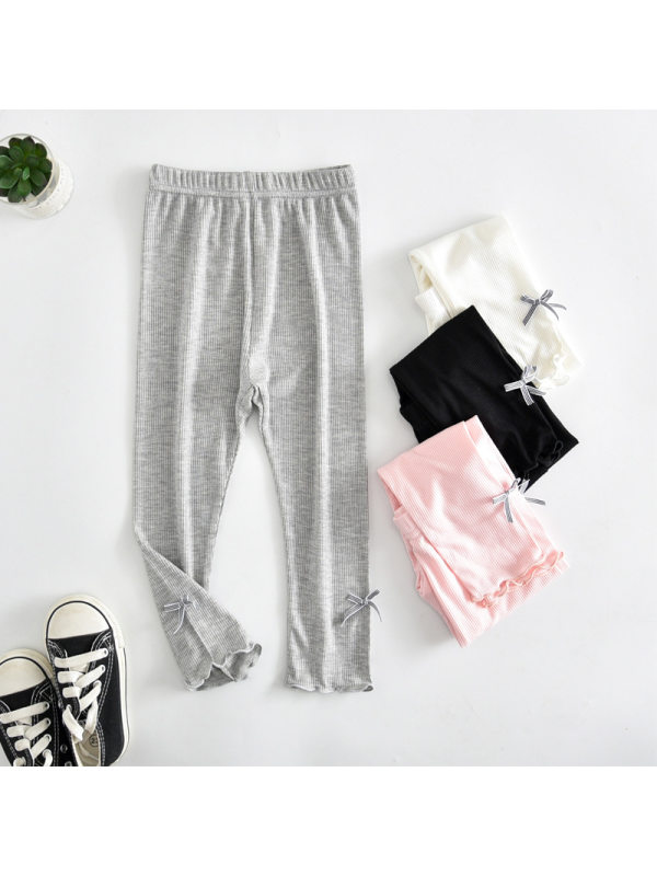【3Y-11Y】Girls' Solid Color Bow Thin Cropped Trousers Leggings