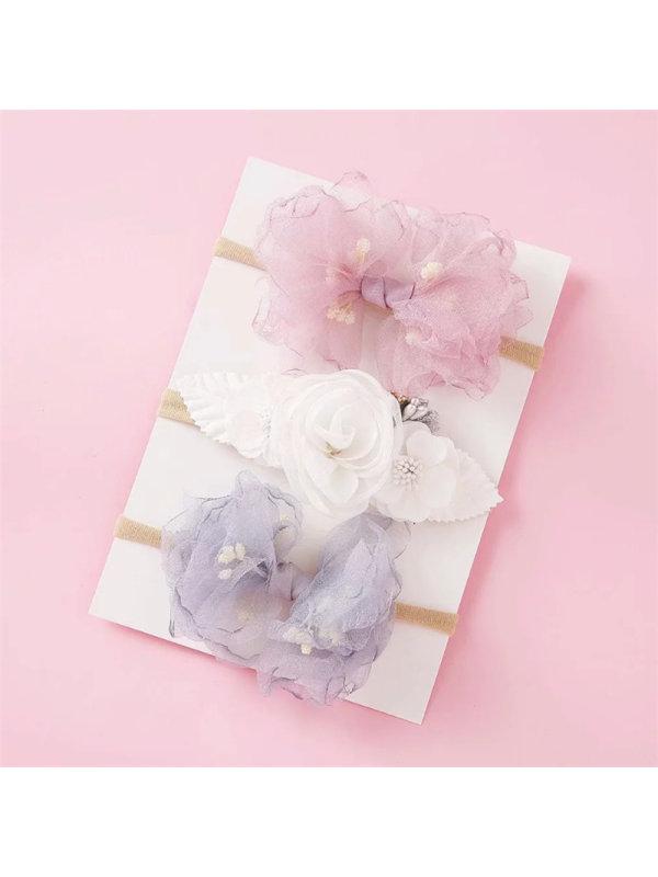 Girls Head Flower Hair Tie 3 Piece Set