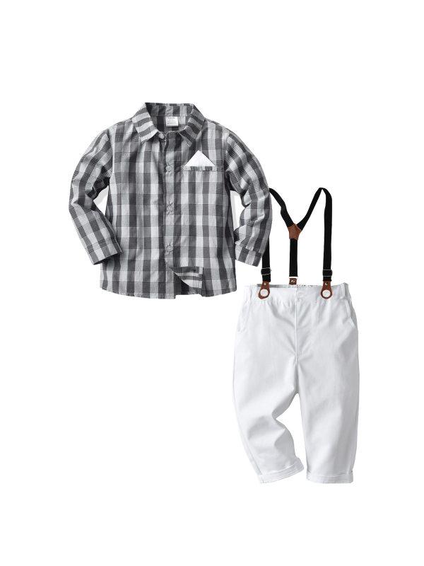 【18M-7Y】Boy Plaid Long-sleeved Shirt Suspenders Trousers Gentleman Suit