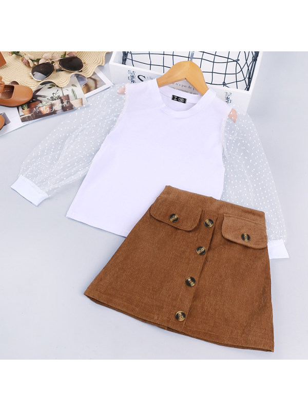 【18M-7Y】Girls Polka Dot Mesh Long-Sleeved Stitching T-Shirt Short Skirt Suit