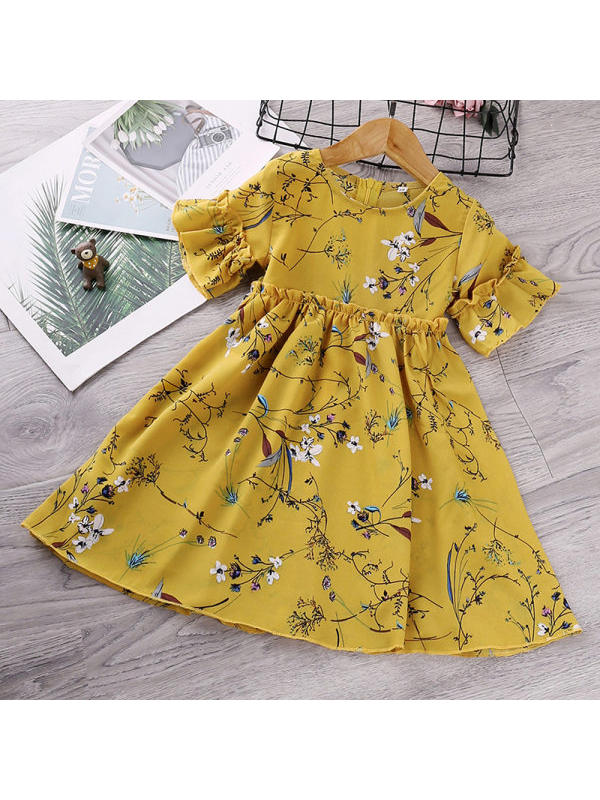 【18M-7Y】Girls Floral Print Short Sleeve Dress
