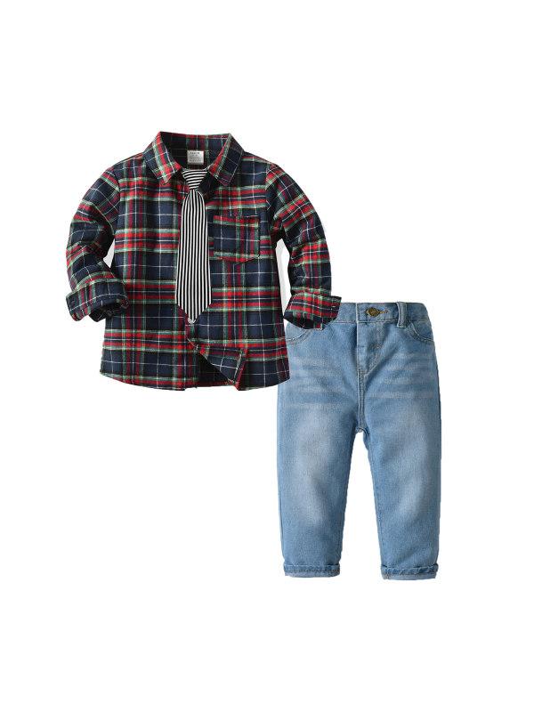 【12M-7Y】Boy Tie Lattice Long-sleeved Shirt Jeans Suit