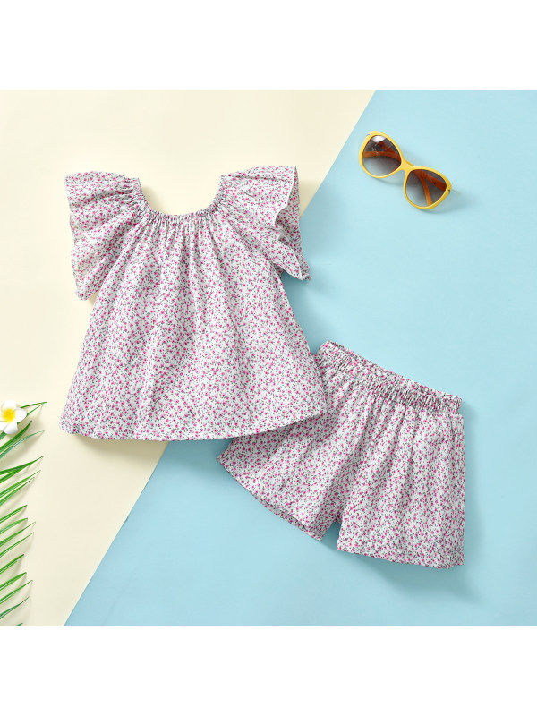 【18M-7Y】Girls Floral Chiffon Flying Sleeves Suits