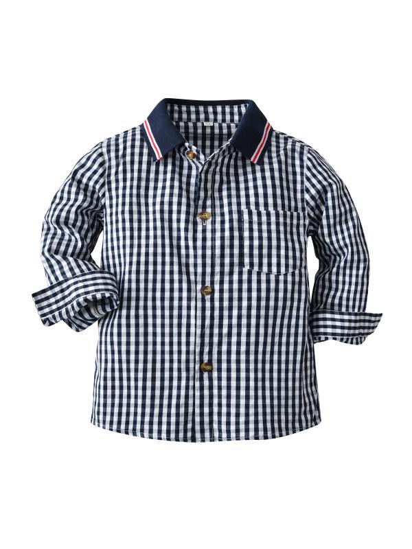 【18M-9Y】Boys Plaid Pattern Cotton Casual Shirt