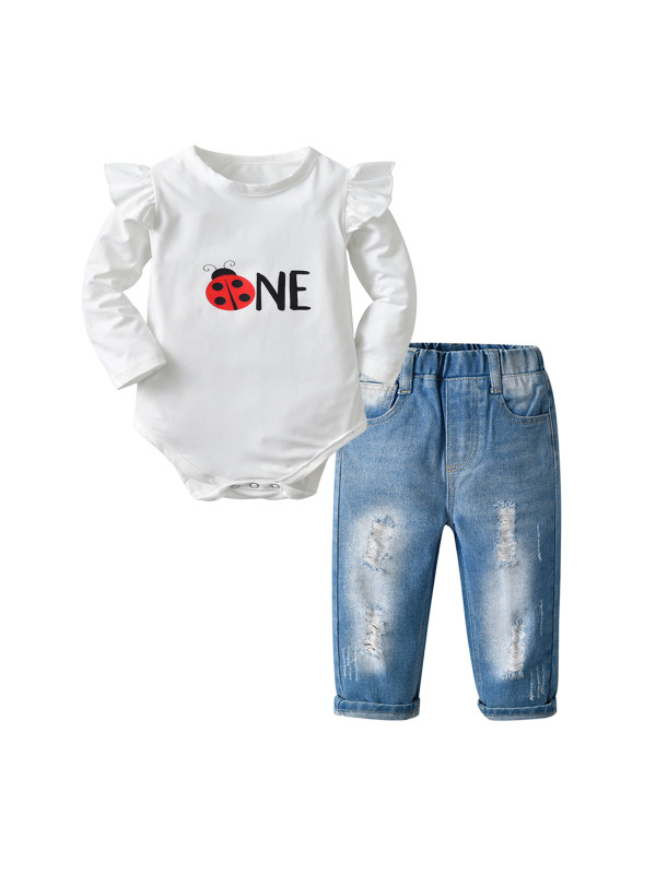 【6M-3Y】Girls Long-sleeved Romper and Jeans Suit