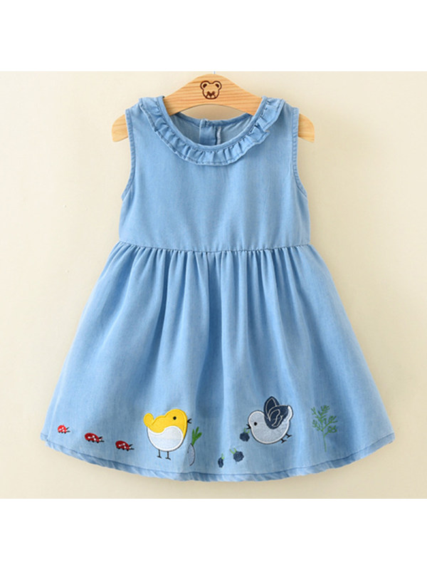 【18M-7Y】Girl Sweet Denim Embroidered Sleeveless Dress
