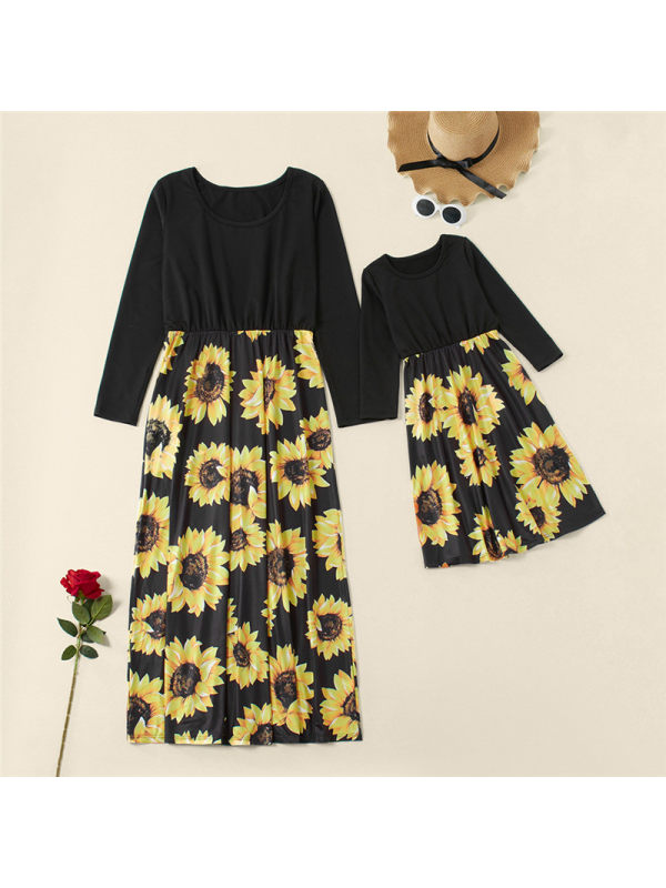 Round Neck Long Sleeve Floral Print Mother Girl Matching Dress