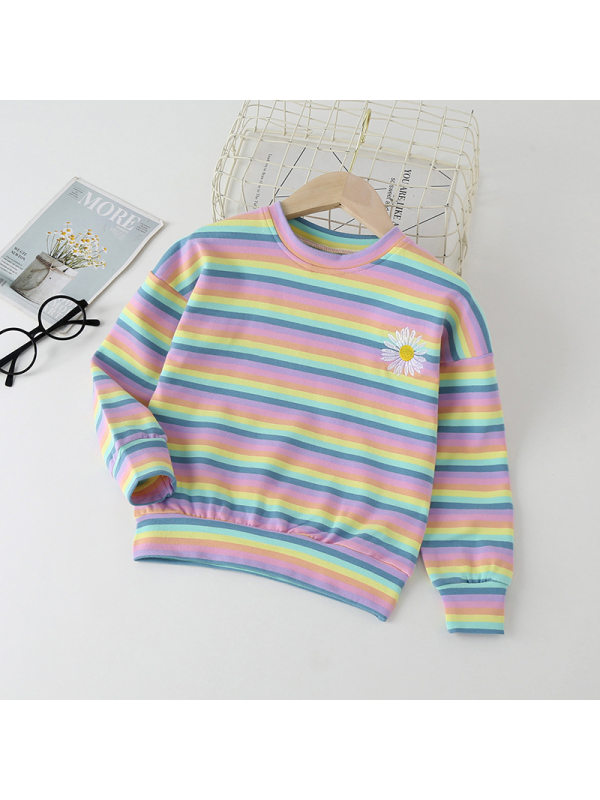 【18M-7Y】Girl Sweet Color Striped Crew Pullover