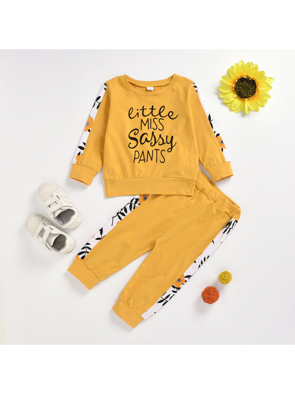 【18M-5Y】Girls Round Neck Letter Printing Long-Sleeved Top And Trousers Casual Suit