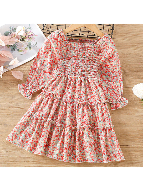 【18M-7Y】Girl Sweet Red Chiffon Floral Long Sleeve Dress