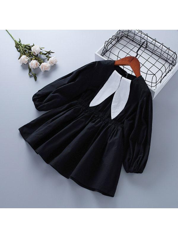 【2Y-9Y】Girls Rabbit Ears Cute Cotton Casual Dress