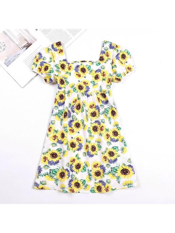 【3Y-11Y】Girls Floral Puff Sleeve Short Sleeve Dress