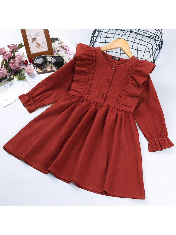 【18M-7Y】Girls Solid Color Long-sleeved Dress