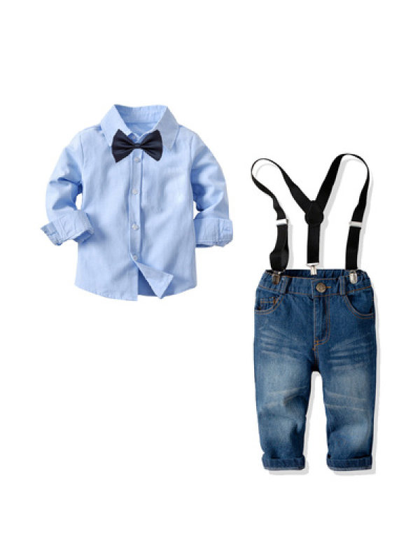 【18M-9Y】Boy's Solid Color Long-sleeved Shirt and Denim Trousers Two-piece Suit