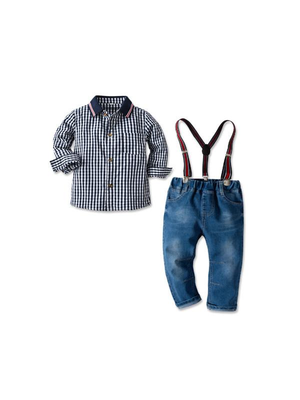 【18M-9Y】Boy's Plaid Shirt Strap Jeans Casual Suit