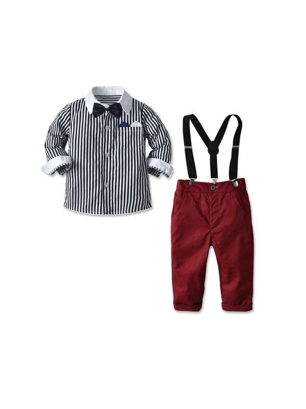 【12M-9Y】Boys Long Sleeve Striped Shirt Set