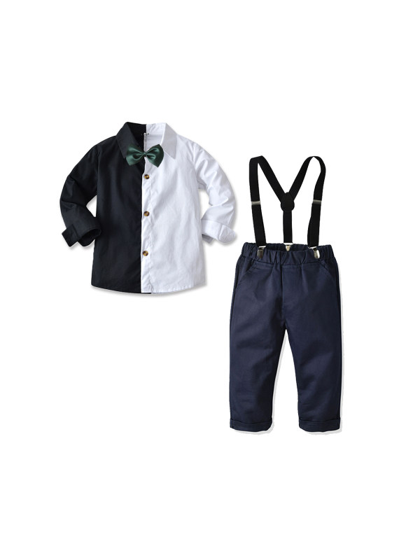 【18M-9Y】Boys Black and White Stitching Long-sleeved Shirt And Bow Tie Overalls