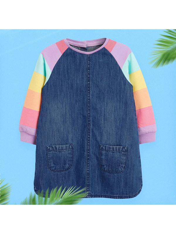 【18M-9Y】Girls Denim Stitching Long-sleeved Dress