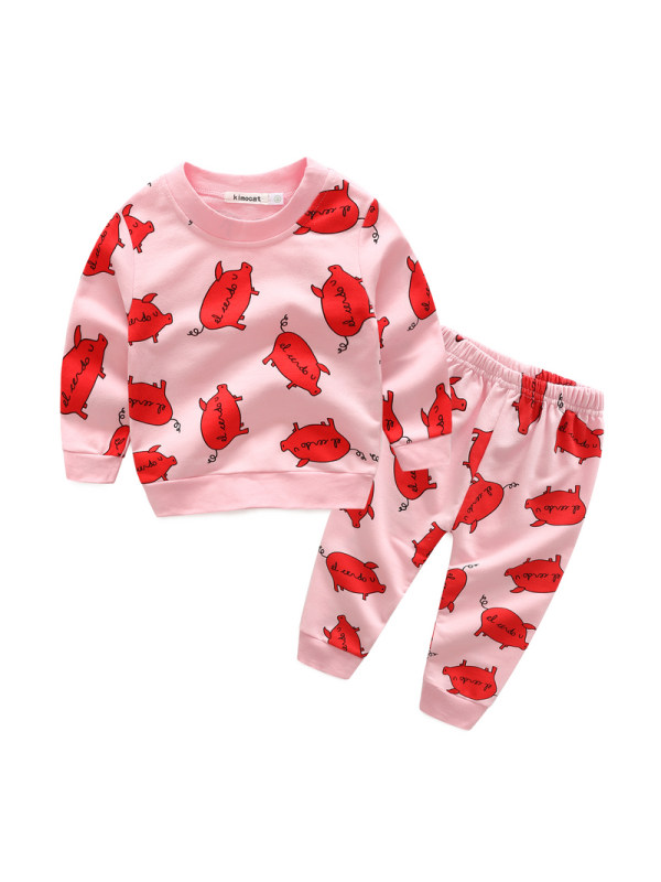 【6M-3Y】Girls Cartoon Print Long-sleeved Trousers Two-piece Suit