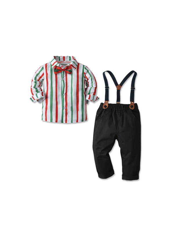 【12M-7Y】Boys' Long-sleeved Striped Shirt And Overalls Casual Suit