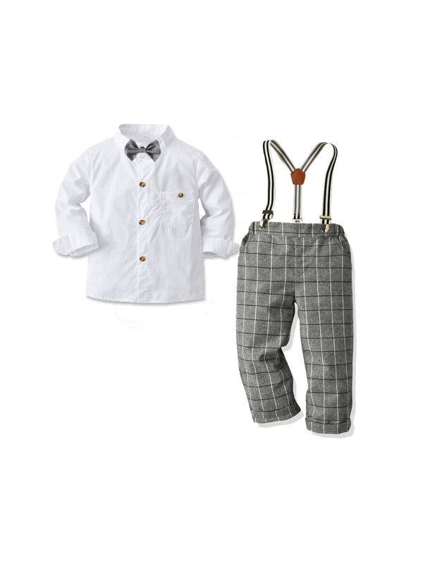 【12M-7Y】Boys White Long-sleeved Shirt And Suspenders Trousers Dress
