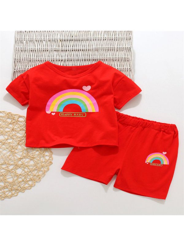 【18M-7Y】 Girls Kids Cartoon Rainbow Print Short Sleeve T-shirt Set