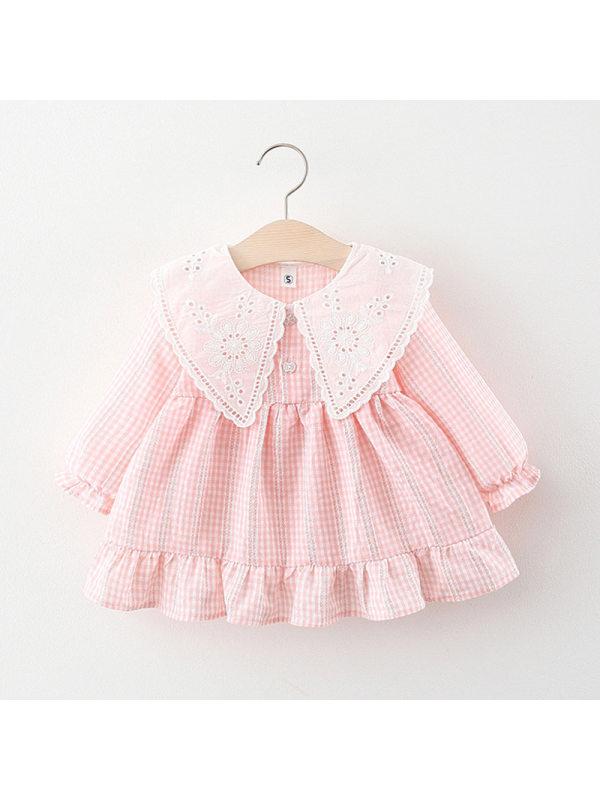 【6M-4Y】Girl Print Long Sleeve Lapel Dress