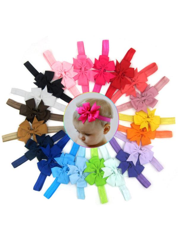 Girl's Threaded Solid Color Bow Headband