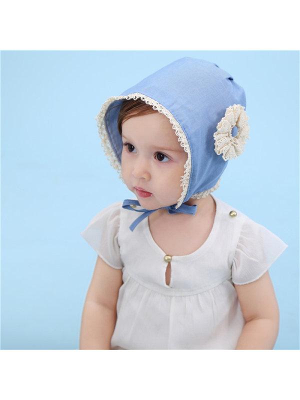 Denim Lace Trim Baby Princess Hat