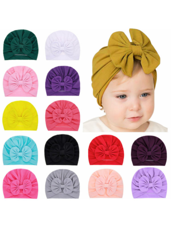Baby Solid Color Bow Hat